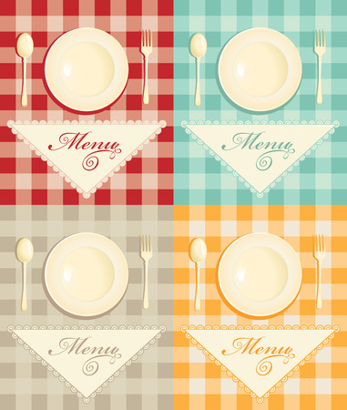stoneware: set menu with cutlery on checkered background