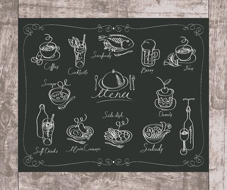 piatto: set di disegno con il gesso di piatti diversi sulla lavagna