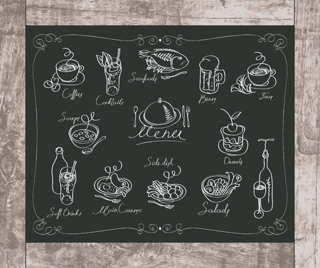 soup and salad: set of drawing with chalk of different dishes on the blackboard Illustration