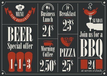 price list: price list for the restaurant menu with different dishes
