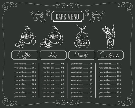 hot chocolate drink: menu for cafe with prices for coffee and dessert