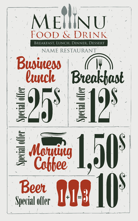coffee menu: board menu for the restaurant with the prices for business lunches, breakfast and coffee