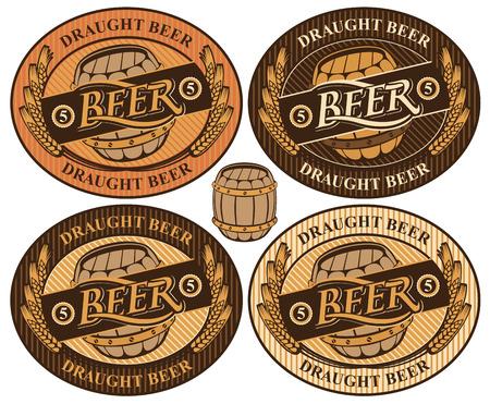nastavit oválný štítek s pivním sudem a slovo pivovaru