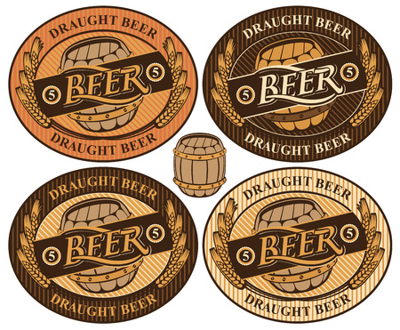 beer label: set oval label with a beer keg and the word brewery
