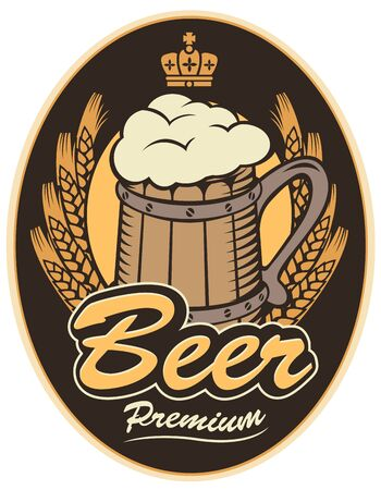armorial: labels for the beer with wooden mug on black background
