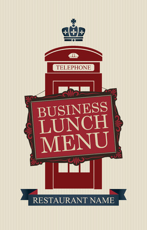 telephone booth: Vector menu for business lunches with London phone booth Illustration