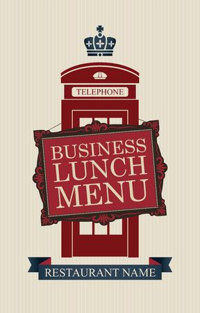 Vector menu voor zakenlunches met Londen telefooncel