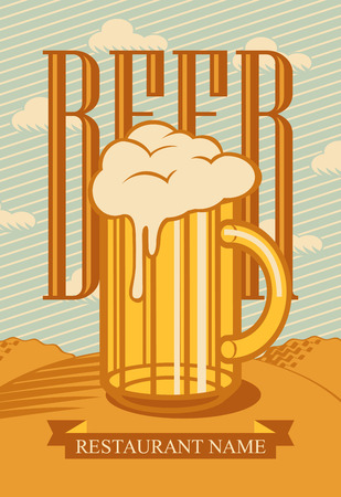 mug: glass of beer in a landscape with field and clouds Illustration
