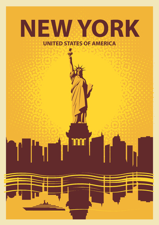 new york buildings: banner with the Statue of Liberty on the background of New York, and the sun