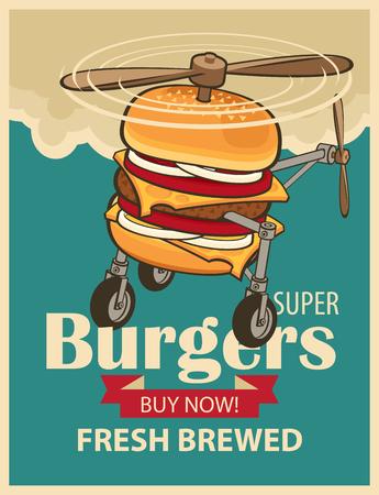 avion caricatura: s�per hamburguesa con ruedas y una h�lice como un helic�ptero