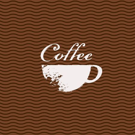 cappuccino: cup of coffee with splashes and stains in the background pattern wave