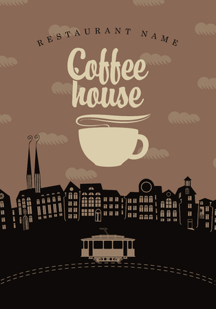 coffee houses: banner for the coffee houses of the old town and tram
