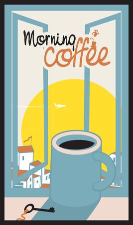 llave de sol: taza de café en el alféizar de la ventana con el paisaje urbano de la mañana