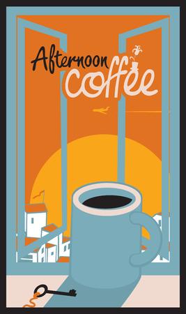 tarde de cafe: taza de caf� en el alf�izar de la ventana con el paisaje urbano de la tarde Vectores