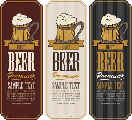 wood sign: set labels for the beer with wooden mug Illustration