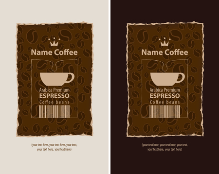 cocoa: set of design labels for coffee beans Illustration