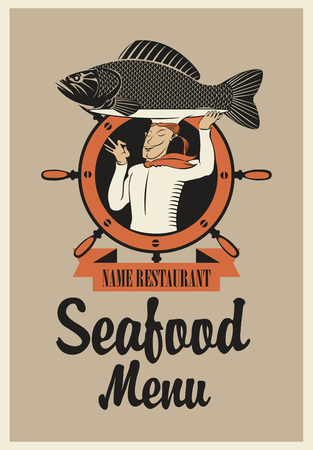 cartoon hat: retro seafood menu with the chef with fish on his head