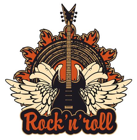 gitara: plakat do rock and roll koncert z gitara elektryczna Ilustracja
