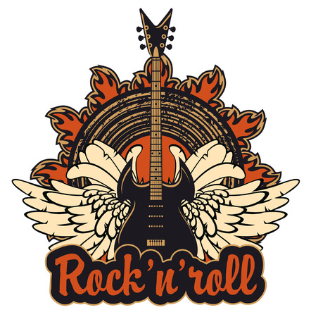 accords: poster for a rock and roll concert with electric guitar Illustration
