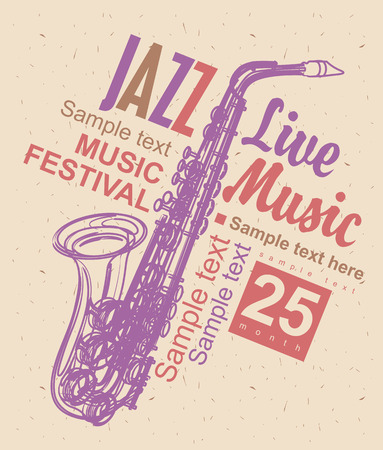 brass: poster for the jazz festival with a saxophone