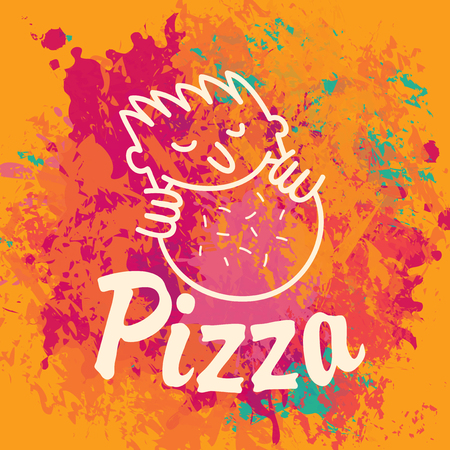 pizza man: logo for pizza restaurant with a pattern that the man eating pizza