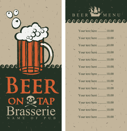 beer menu with price list in pirate style