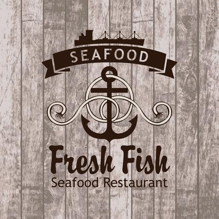 la marinera: banner con restaurante ancla y nave de mariscos en el contexto de los tablones de madera