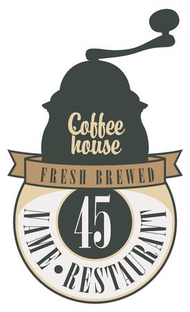 molinillo: bandera con la imagen del puntero y molinillo de café