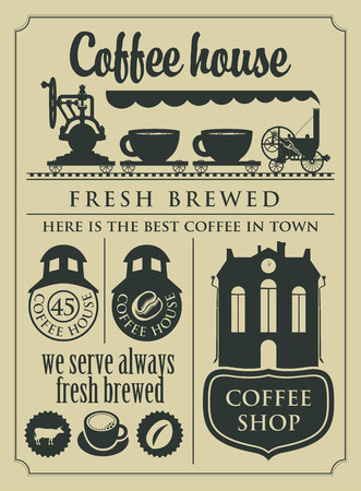 drink coffee: banner with a set of retro coffee