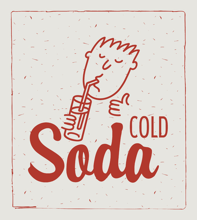tubule: illustration of a cartoon man with a glass of soda