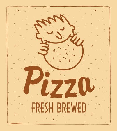 cocina caricatura: logotipo para restaurante de pizza con un patr�n que el hombre comiendo pizza
