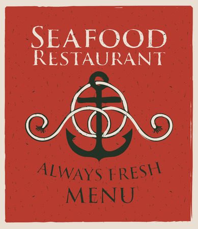 ship anchor: banner with ship anchor and seafood restaurant