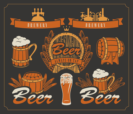 set of design elements and emblems for beer and brewery Ilustrace