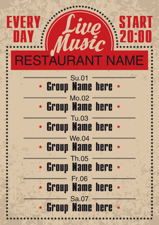 poster for a restaurant with live music for everyday
