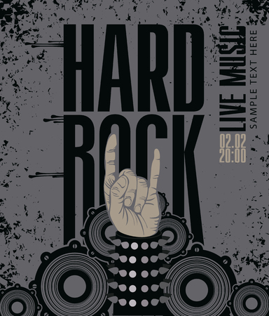 rock n: Hand in rock n roll sign against the background of the audio speakers Illustration