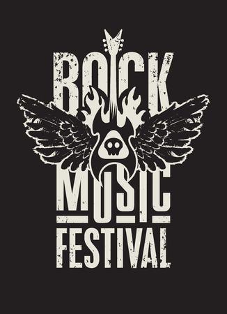 concierto de rock: cartel de un festival de música rock con el cráneo, guitarra y alas