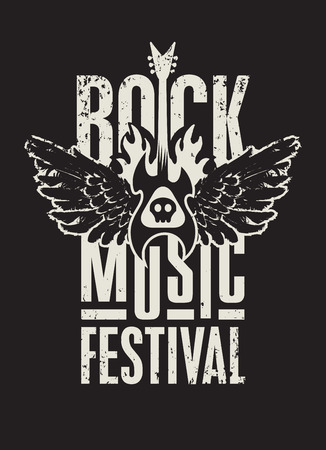 grunge music background: poster for a rock music festival with  skull, guitar and wings