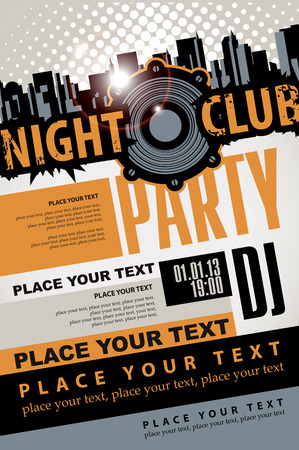 invitation: Playbill for the musical party in night club with speaker over modern city background
