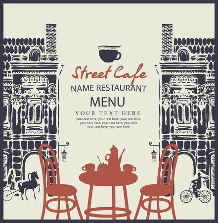 sidewalk cafe: Menu for sidewalk street cafe with table and old architecture Illustration