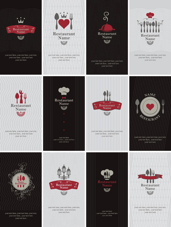 drink food: set of business cards on the theme of food and drinks