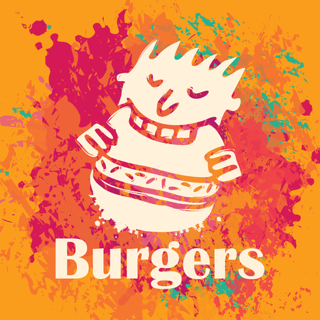 pizzeria label design: man eating burgers on background stains and splashes
