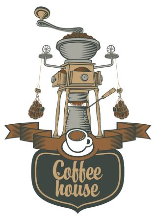 coffee house: logo for a cafe or restaurant with a coffee grinder and beans Illustration