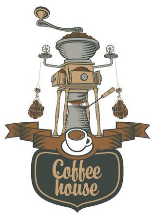 chocolatería: logotipo para una cafetería o restaurante con un molinillo de café y granos