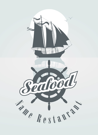 wind wheel: menu for the seafood restaurant with sailboat