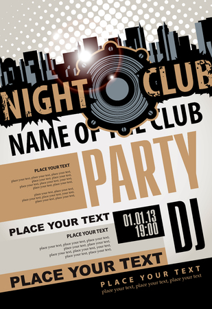 playbill: Playbill for the musical party in night club with speaker over modern city background