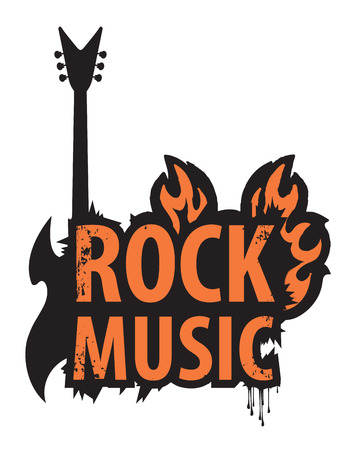 fest: banner with the inscription of rock music in the fire with electric guitar