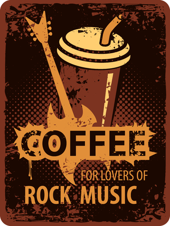 the fans: Banner with a paper cup of coffee for fans of rock music with electric guitar