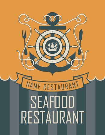 packaging design: banner with ship anchor and seafood restaurant with sailboat and cutlery