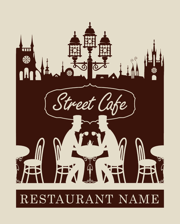 diners: menu for street cafe with old town and gentlemen diners
