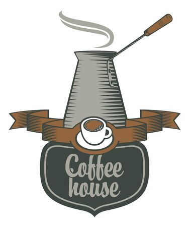 coffee houses: logo for coffee houses and coffee pots Illustration